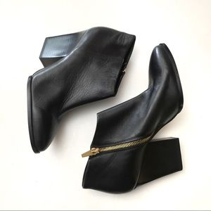 Calvin Klein Leather Zipper Pointy Ankle Boots